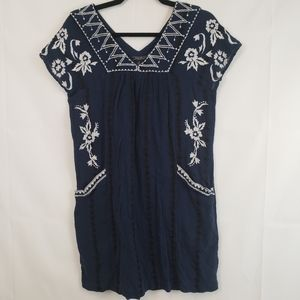 Lucky brand Women's dress embroidered Floral blue